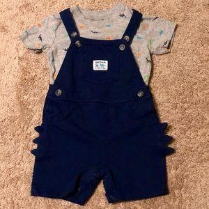 Dinosaur explorer jumpsuit/overalls & Dino T-shirt